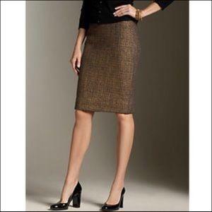 Zara Brown Tweed Wool Blend Pencil Skirt